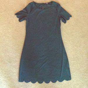 Hunter Green Scalloped Short-Sleeve Dress